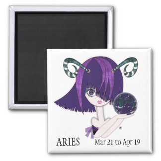 Zodiac: Aries 2 Inch Square Magnet