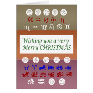 Zodiac Astrology Symbol : Merry Christmas Xmas Card