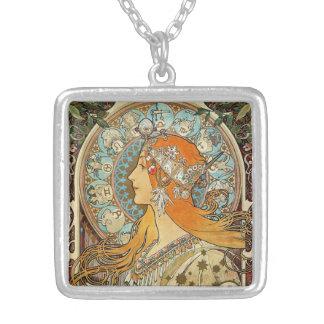 Zodiac by Alphonse Mucha Square Pendant Necklace