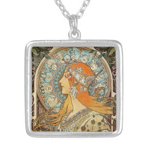 Zodiac by Alphonse Mucha Pendant