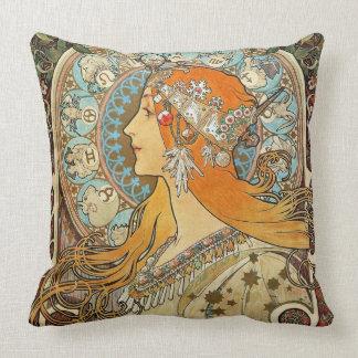 Zodiac by Alphonse Mucha Throw Pillow