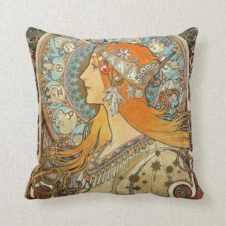 Zodiac by Alphonse Mucha Pillow