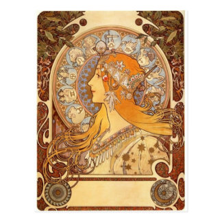 Zodiac by Mucha Postcard