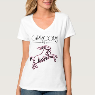 Zodiac Capricorn Woman in Pink and Black T-Shirt