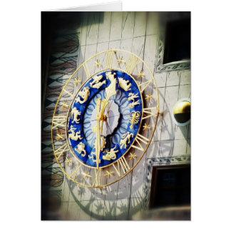 Zodiac Clock in Munich Greeting Card