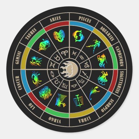Zodiac Color Wheel Classic Round Sticker Zazzle Com