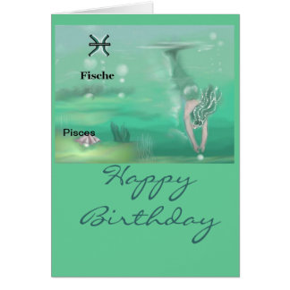 Zodiac.  FISH, Pisces birthday map Card