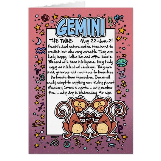 Zodiac - Gemini Fun Facts Card
