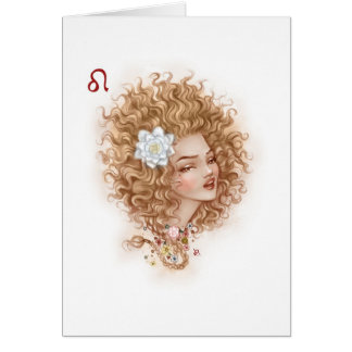 Zodiac Girl Greeting Card: Leo Card