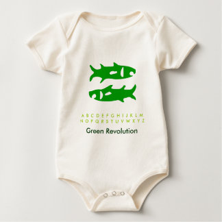 Zodiac Green Fish Baby Bodysuit