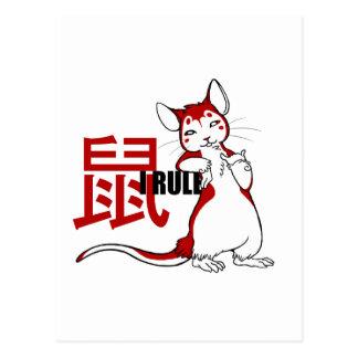 Zodiac- I Rule Rat Postcard