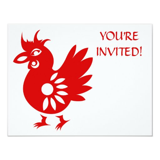 ZODIAC PAPERCUT ROOSTER ILLUSTRATION 4.25X5.5 PAPER INVITATION CARD