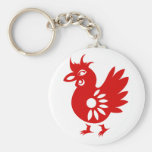 ZODIAC PAPERCUT ROOSTER ILLUSTRATION KEYCHAIN
