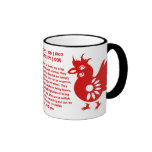 ZODIAC PAPERCUT ROOSTER ILLUSTRATION RINGER COFFEE MUG