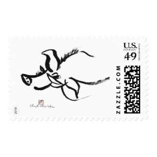 Zodiac Pig, Year of the Pig Sumi-e Stamp