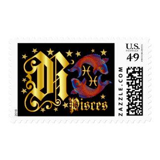 Zodiac-Pisces-Font-Design-1-R Postage Stamp