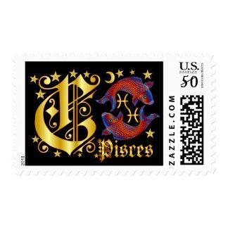 Zodiac-Pisces-Font-Design-2-C Postage