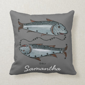 Zodiac: Pisces In Color Throw Pillow