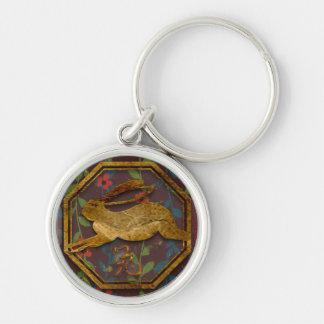 Zodiac Rabbit with Chinese Symbol Keychain