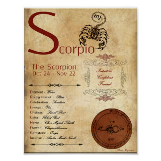 ZODIAC SCORPIO  Birth Sign POSTER