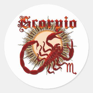 Zodiac Scorpio-Design-1 View Below Hints Round Stickers