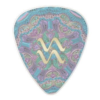 Zodiac Sign Aquarius Mandala Polycarbonate Guitar Pick by UROCKSymbology at Zazzle