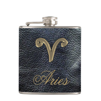 Zodiac Sign Aries Black Leather-Look Flask