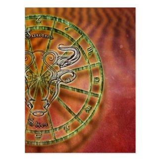 zodiac sign bull- postcard
