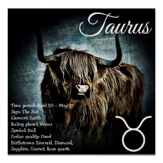Zodiac Sign Bull Symbol Taurus Astrology Poster