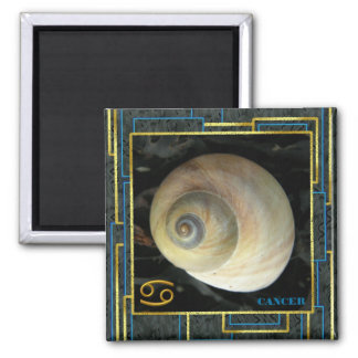 Zodiac Sign Cancer with Moon Shell 2 Inch Square Magnet