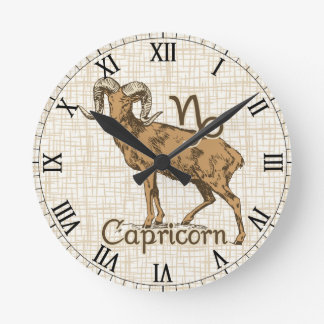 Zodiac Sign Capricorn Symbol Round Clock