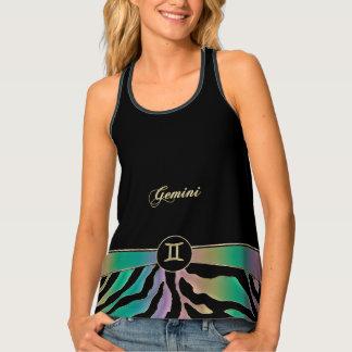 Zodiac Sign Gemini Rainbow Tiger Top