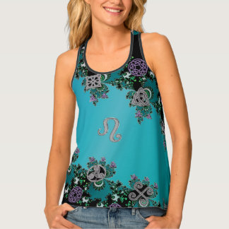 Zodiac Sign Leo Celtic Fractal Turquoise Tank Top
