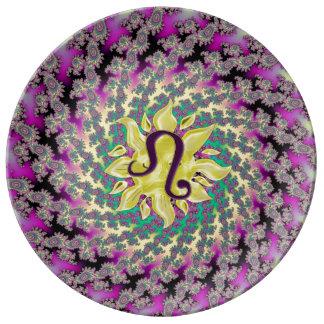 Zodiac Sign Leo Fractal Mandala Dinner Plate