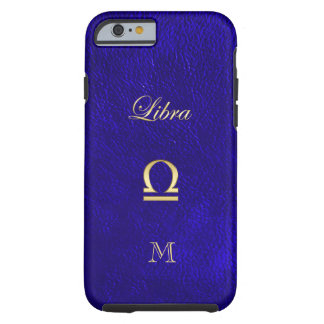 Zodiac Sign Libra Blue Leather Look Tough iPhone 6 Case