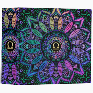 Zodiac Sign Libra Mandala 3 Ring Binder
