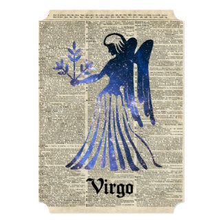 Zodiac Sign of Maiden Virgo Over An Old Book Page Card