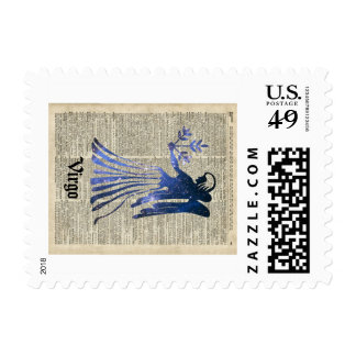 Zodiac Sign of Maiden Virgo Over An Old Book Page Postage Stamp