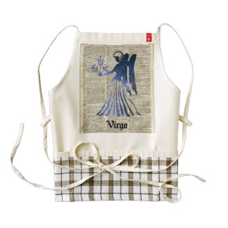 Zodiac Sign of Maiden Virgo Over An Old Book Page Zazzle HEART Apron