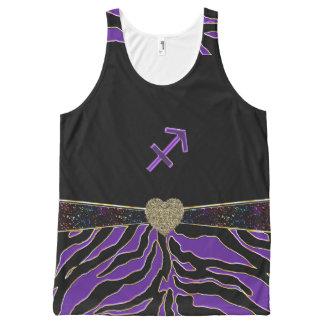 Zodiac Sign Sagittarius Purple Tiger Design All-Over Print Tank Top