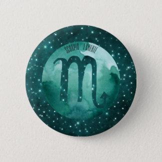Zodiac Sign Scorpio on Starry Teal Sky Pinback Button