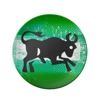 Zodiac Sign, Taurus, Decorative Plate, Green/Black Dinner Plate