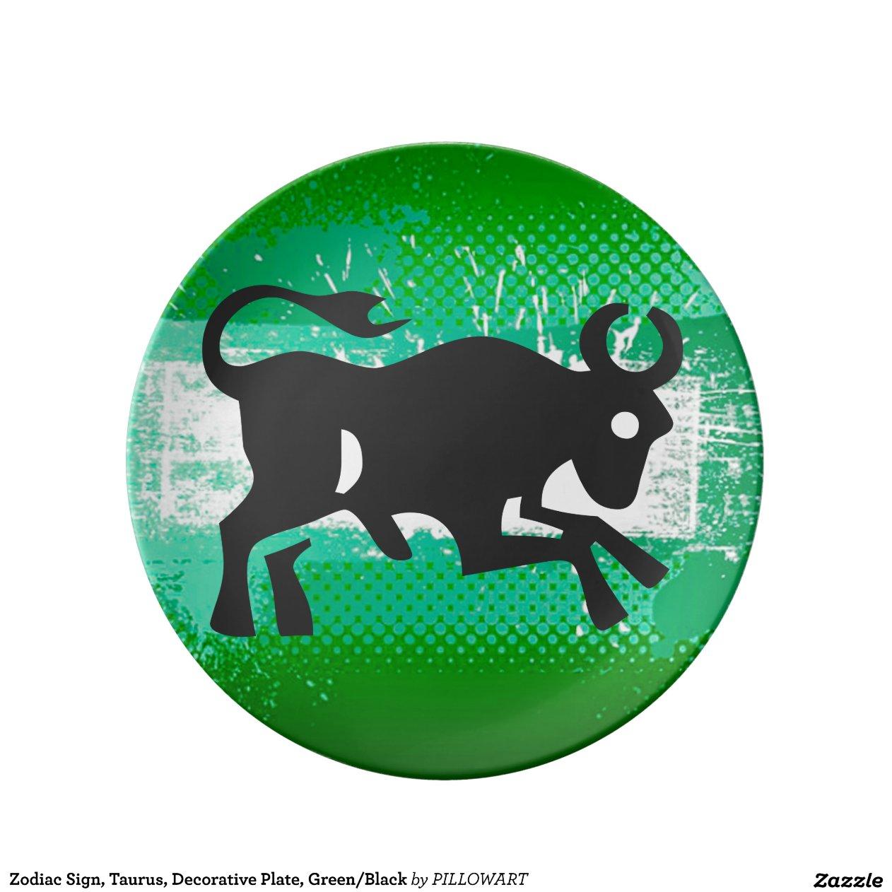 Zodiac Sign Taurus Zodiac Sign Taurus Decorative Plate Green Black Porcelain