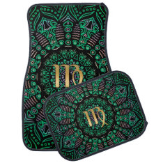Zodiac Sign Virgo Green Mandala Car Floor Mat at Zazzle
