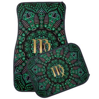 Zodiac Sign Virgo Green Mandala Car Floor Mat