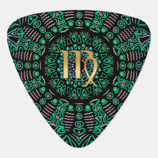 Zodiac Sign Virgo Green Mandala Guitar Pick
