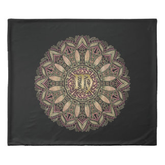 Zodiac Sign Virgo Mandala Earth Tones Duvet Cover