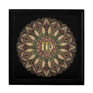 Zodiac Sign Virgo Mandala Earth Tones Jewelry Box