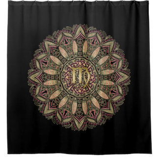Zodiac Sign Virgo Mandala Earth Tones Shower Curtain