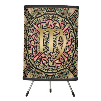 Zodiac Sign Virgo Mandala Earth Tones Tripod Lamp